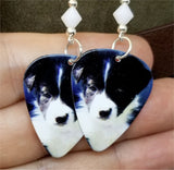 Border Collie Puppy Guitar Pick Earrings with White Swarovski Crystal Bicones