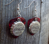 Coca Cola Bottle Cap Charm Guitar Pick Earrings - Pick Your Color