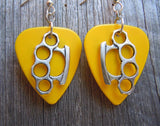 Brass Knuckle Charms Guitar Pick Earrings - Pick Your Color