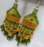 Gold and Green Short Brick Stitch Earrings