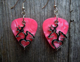 Browning Doe and Buck on a Heart Silhouette Charms Guitar Pick Earrings - Pick Your Color