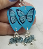Blue Butterfly Guitar Pick Earrings with Blue Crystal Swarovski Dangles