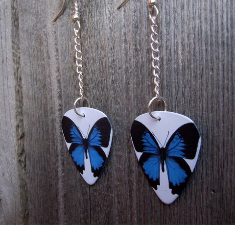 Dangling Beautiful Blue Butterfly Guitar Pick Earrings