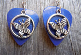 Encircled Butterfly Charm Guitar Pick Earrings - Pick Your Color