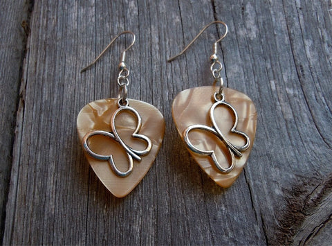 Butterfly Outline Charm Guitar Pick Earrings - Pick Your Color