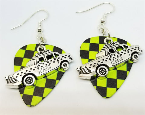 New York Taxi Charm Guitar Pick Earrings - Pick Your Color
