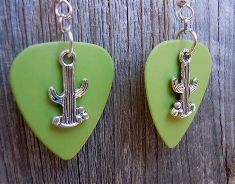 Cactus Charm Guitar Pick Earrings - Pick Your Color