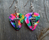 Caduceus Charm Guitar Pick Earrings - Pick Your Color