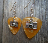Camera Charm Guitar Pick Earrings - Pick Your Color