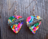 Old School Car Charm Guitar Pick Earrings - Pick Your Color