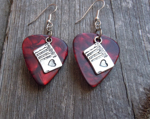 Royal Flush Poker Hand Charm Guitar Pick Earrings - Pick Your Color