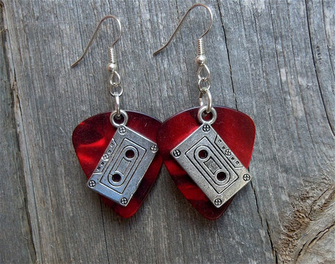 Cassette Tape Charm Guitar Pick Earrings - Pick Your Color