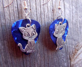 Cartoon Cat Charm Guitar Pick Earrings - Pick Your Color
