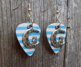 Cat Sitting on a Half Moon Charm Guitar Pick Earrings - Pick Your Color