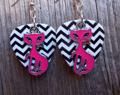 Deep Pink Elegant Cat Charm Guitar Pick Earrings - Pick Your Color