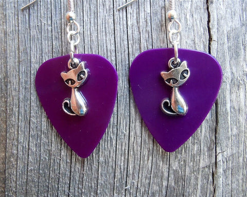 Small Fancy Cat Charm Guitar Pick Earrings - Pick Your Color