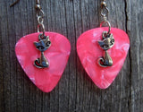 Fancy Cat Charm Guitar Pick Earrings - Pick Your Color