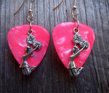 Cheerleader Charm Guitar Pick Earrings - Pick Your Color