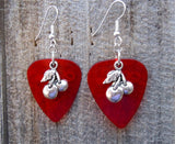 Cherry Charm Guitar Pick Earrings - Pick Your Color