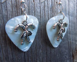 Crossed Candy Cane Charm Guitar Pick Earrings - Pick Your Color