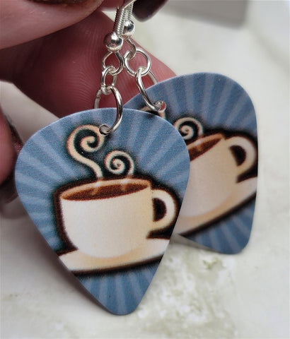 Coffee Cup Guitar Pick Earrings