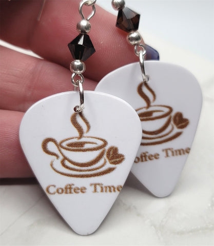 Coffee Time Guitar Pick Earrings with Mocha Swarovski Crystals