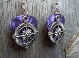 Compass Charm Guitar Pick Earrings - Pick  Your Color