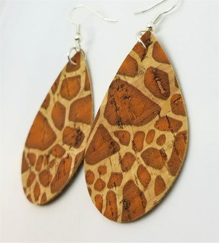 Giraffe Print Tear Drop Shaped Cork Earrings