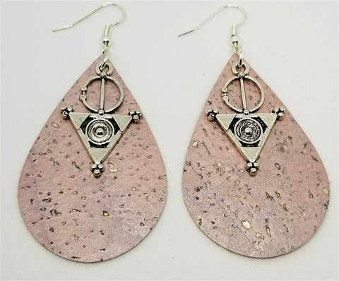 Soft Pink with Gold Flecks Tear Drop Shaped Cork Earrings with Interesting Charm