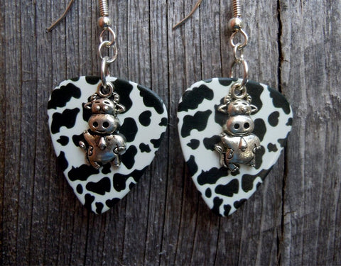 Cow Charm Guitar Picks Earrings - Pick Your Color