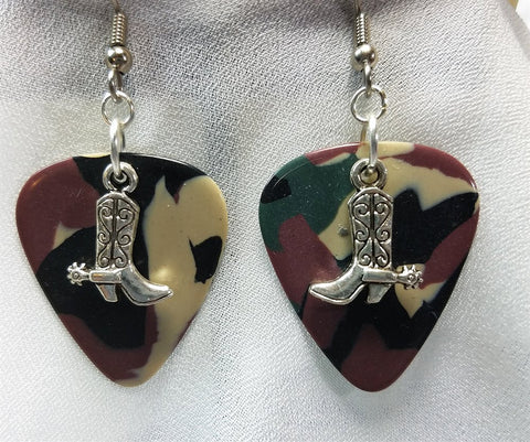 Cowboy Boot and Spur Charm Guitar Pick Earrings - Pick Your Color