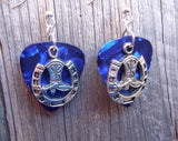 Cowboy Boot and Horseshoe Charm Guitar Pick Earrings - Pick Your Color