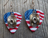 Cowboy Hat Charm Guitar Pick Earrings - Pick Your Color