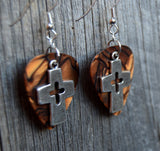 Cross with Cutout Guitar Pick Earrings - Pick Your Color