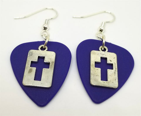 Cut Out Cross Charm Guitar Pick Earrings - Pick Your Color