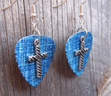Cross with Diagonal Stripe Charm Guitar Pick Earrings - Pick Your Color