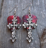 Large Cross Charm Guitar Pick Earrings - Pick Your Color