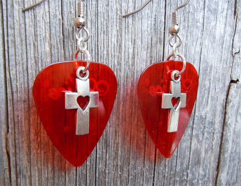 Cross with Heart Cut Out Charm Guitar Pick Earrings - Pick Your Color