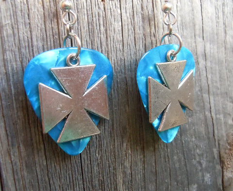 Iron Cross Charm Guitar Pick Earrings - Pick Your Color