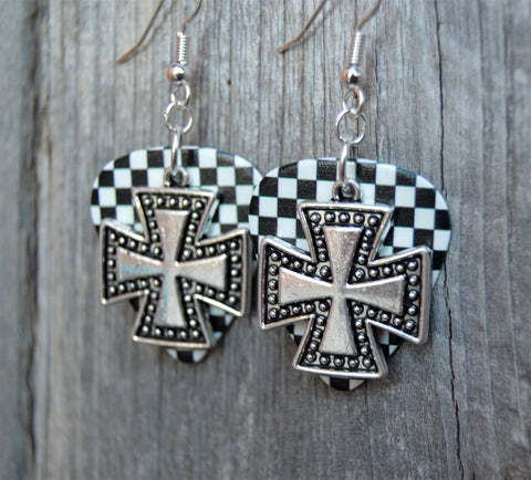 Studded Iron Cross Charm Guitar Pick Earrings - Pick Your Color