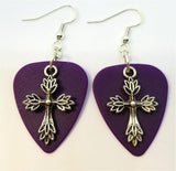 Cross Made of Leaves Charm Guitar Pick Earrings - Pick Your Color