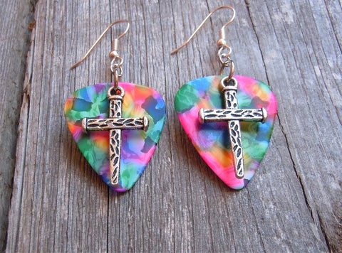 Cross Made of Nails Charms Guitar Pick Earrings - Pick Your Color