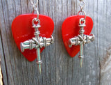 Bound Nails Cross Charm Guitar Pick Earrings - Pick Your Color