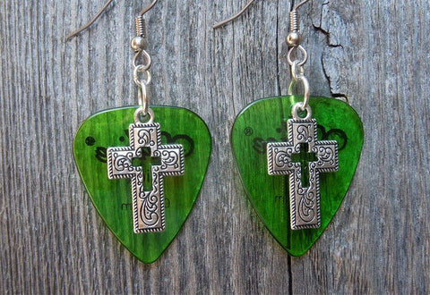 Cross with Cut Out Charm Guitar Pick Earrings - Pick Your Color