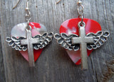 Winged Cross Charm Guitar Pick Earrings - Pick Your Color