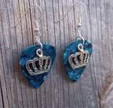 Crown Charm Guitar Pick Earrings - Pick Your Color