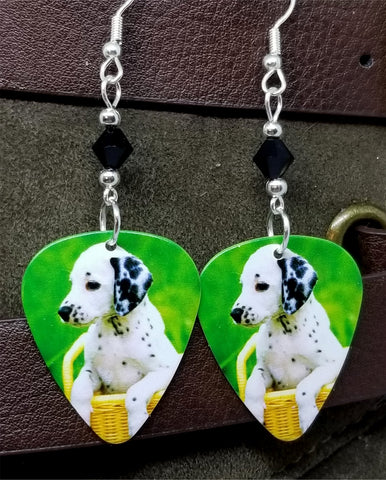 Dalmatian Puppy Guitar Pick Earrings with Black Swarovski Crystals