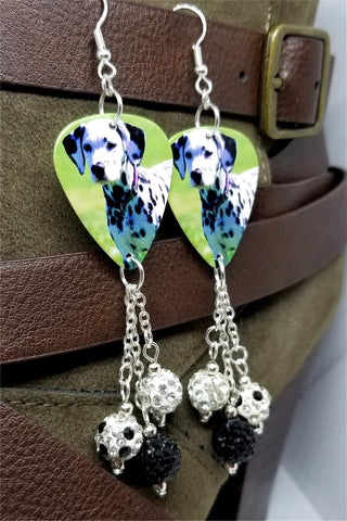 Dalmatian Guitar Pick Earrings with Pave Bead Dangles