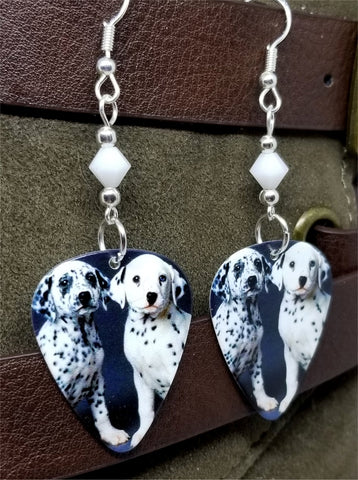 Dalmatian Puppies Guitar Pick Earrings with White Swarovski Crystals