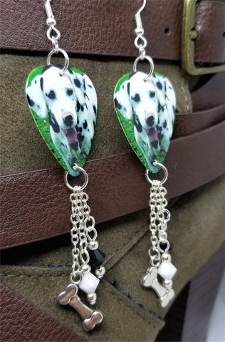 Dalmatian Guitar Pick Earrings with Bone Charm and Swarovski Crystal Dangles